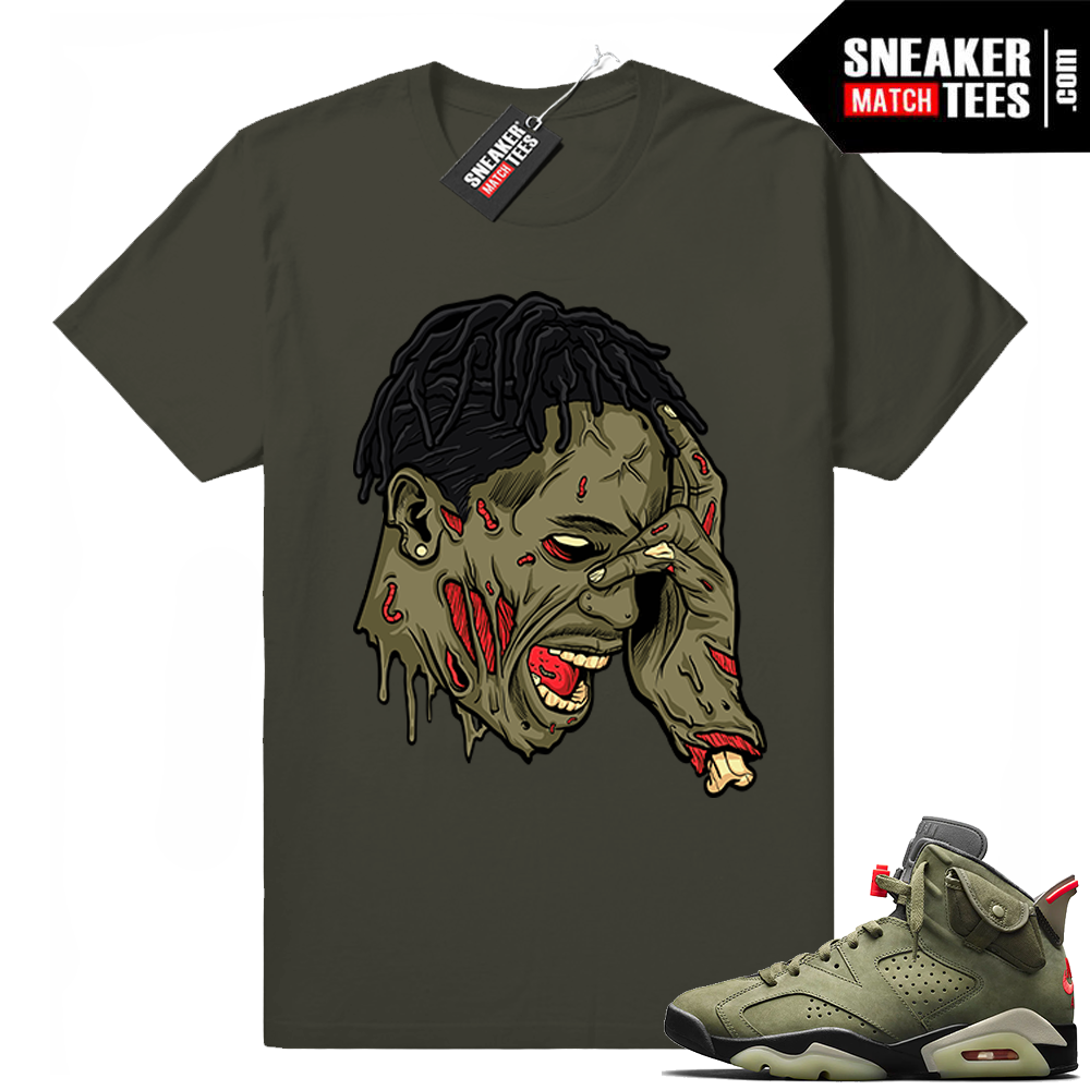Travis Scott x Jordan 6 Dark Olive shirt Travis Zombie