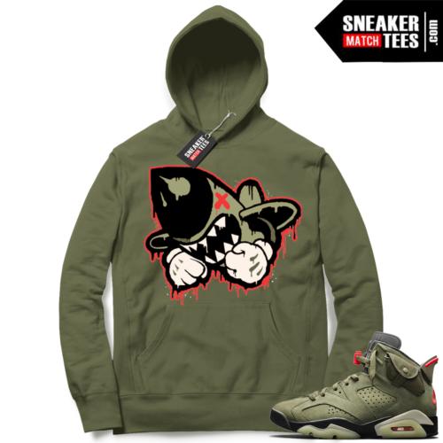Travis Scott x Jordan 6 Olive Hoodie Bruiser Logo