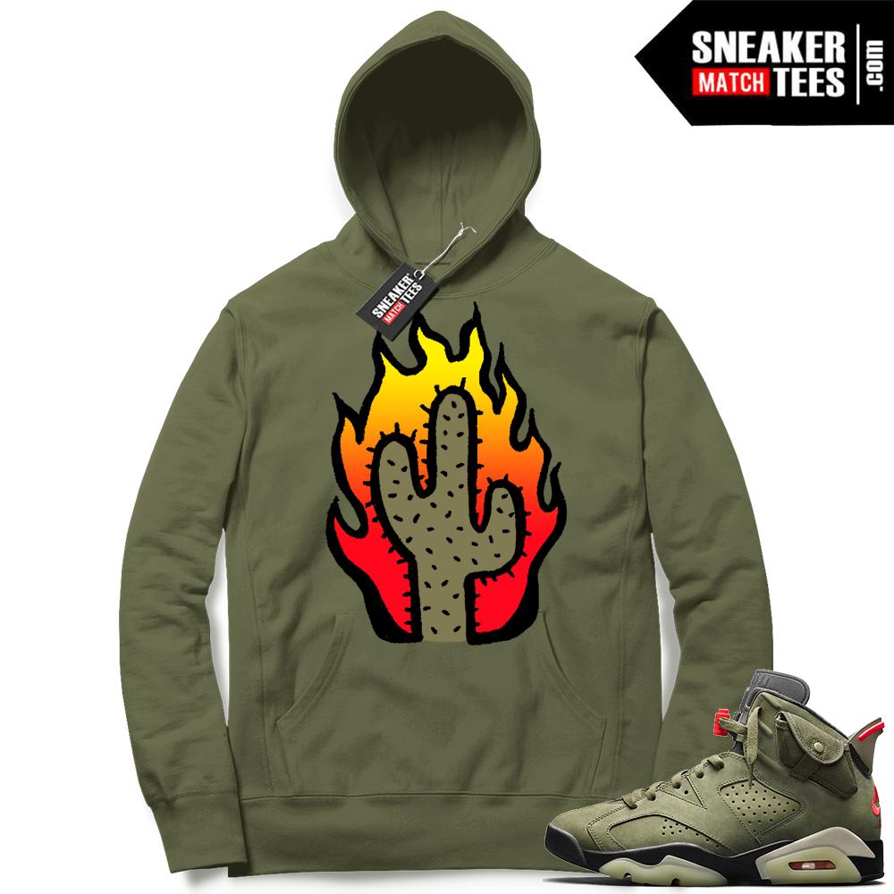 Travis Scott x Jordan 6 Olive Hoodie Cactus Flame