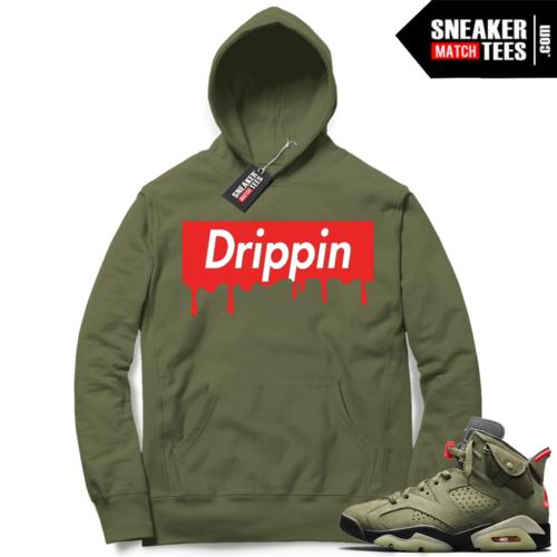 Travis Scott x Jordan 6 Olive Hoodie Drip Box Logo