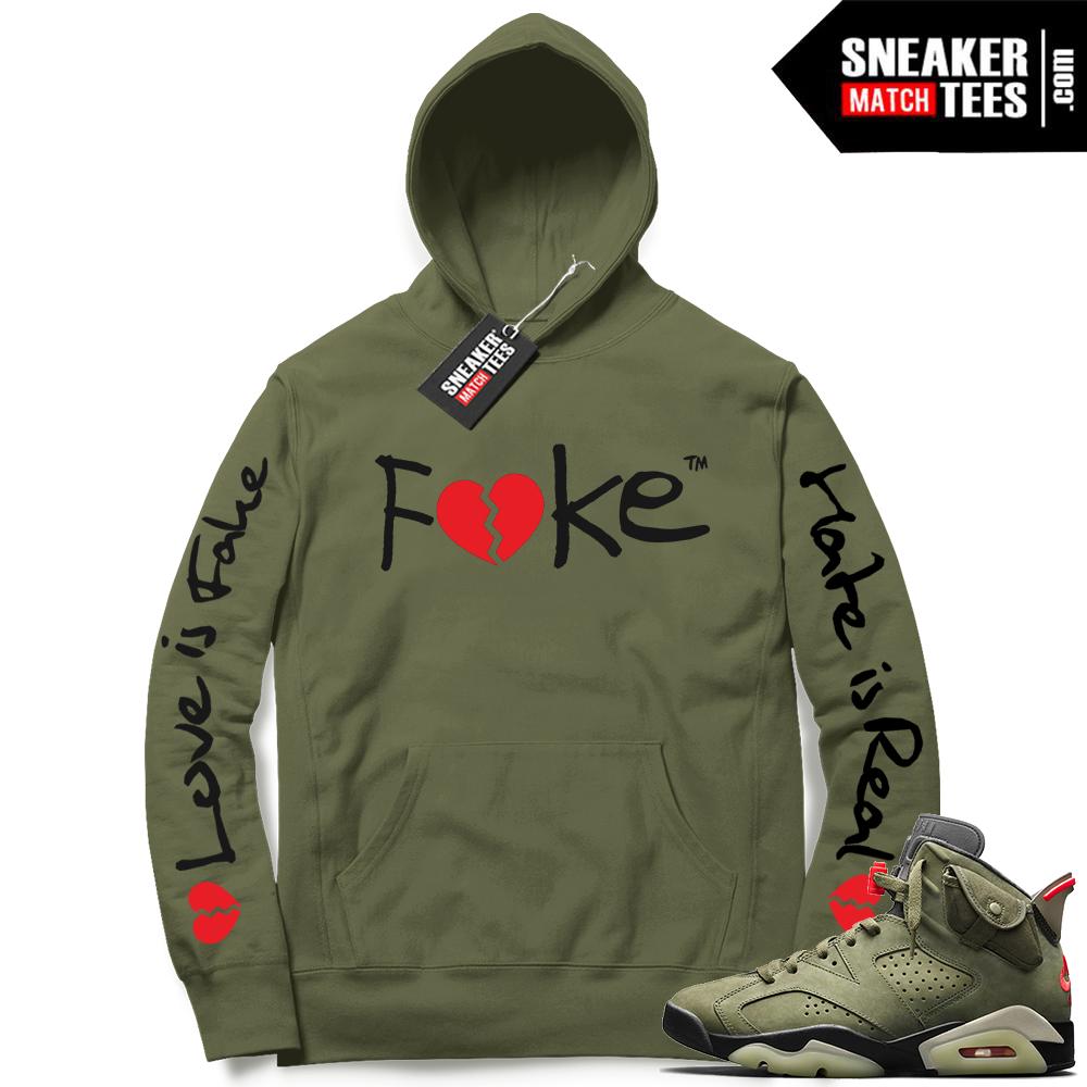 Travis Scott x Jordan 6 Olive Hoodie Fake Love