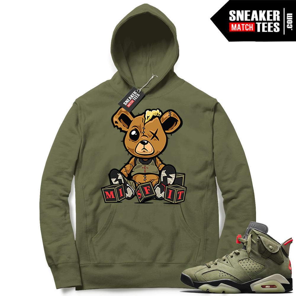 Travis Scott x Jordan 6 Olive Hoodie Misfit teddy