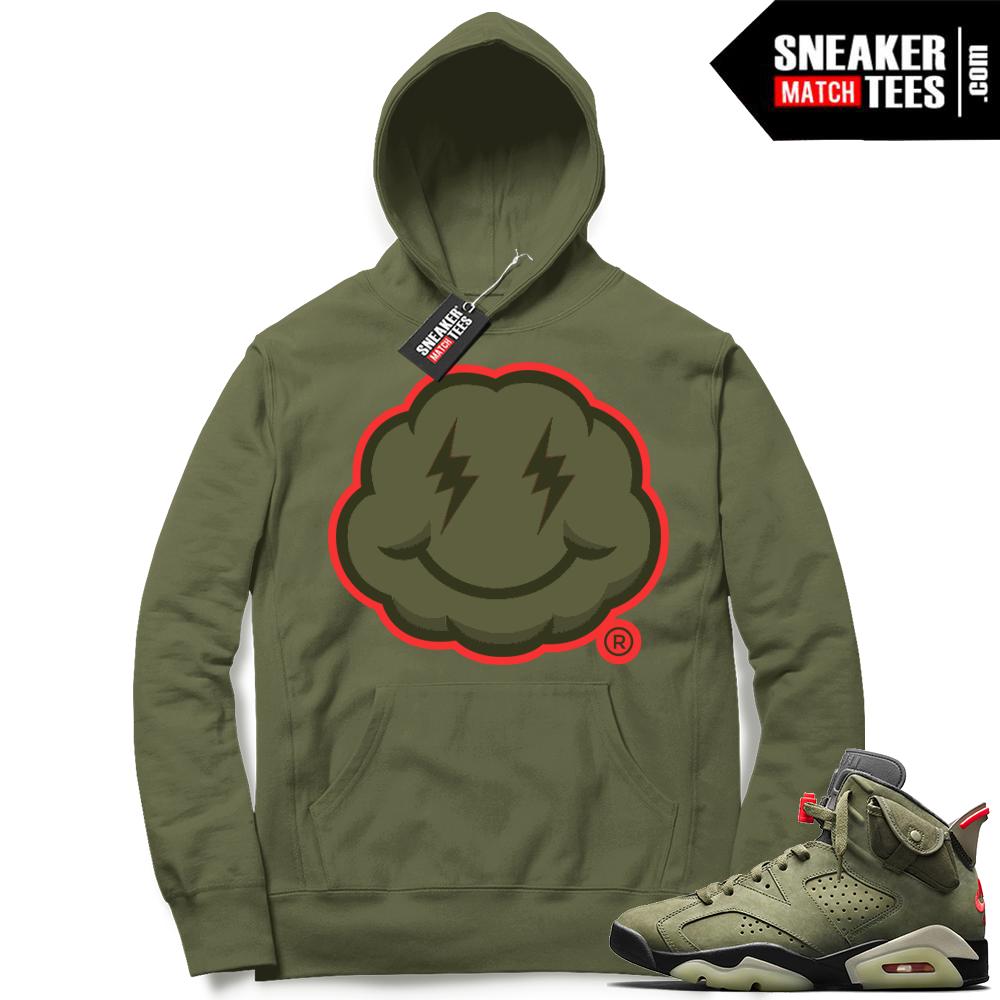 Travis Scott x Jordan 6 Olive Hoodie Smiley Cloud logo