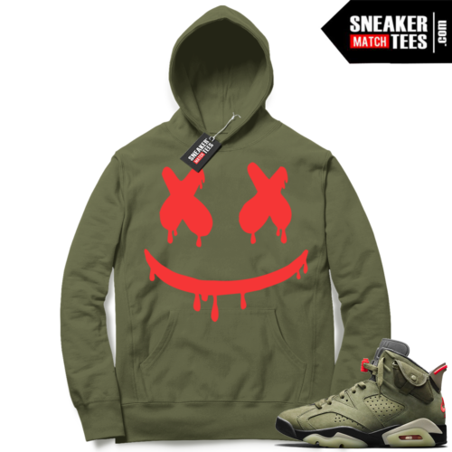 Travis Scott x Jordan 6 Olive Hoodie Smiley Drip