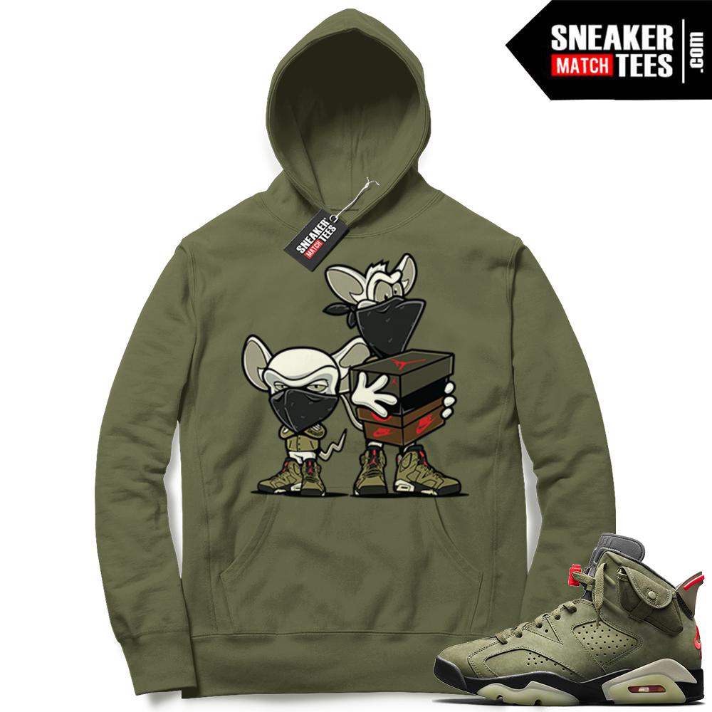 Travis Scott x Jordan 6 Olive Hoodie Sneaker Heist