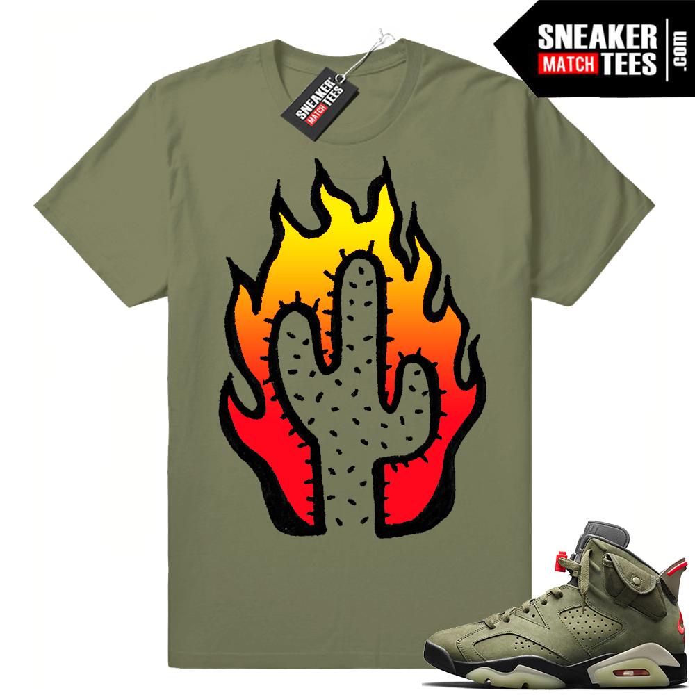 Travis Scott x Jordan 6 Olive shirt Cactus Flame