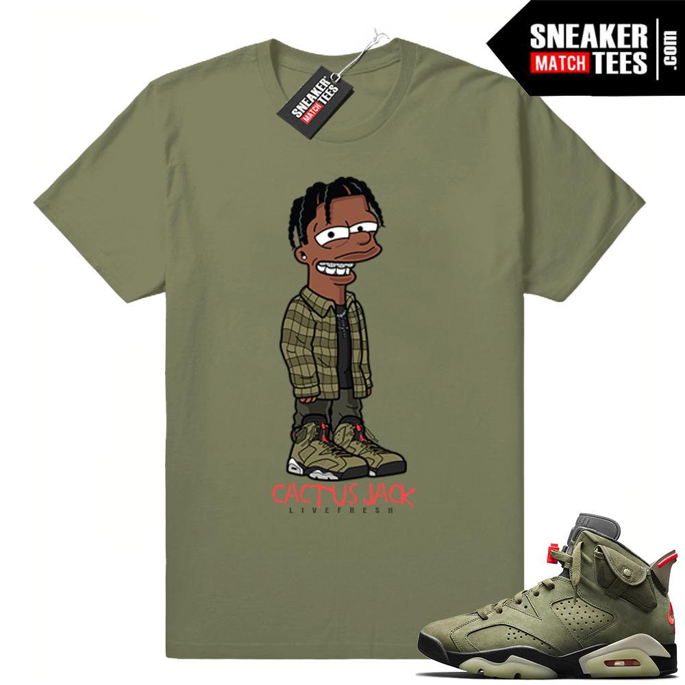 Travis Scott X Jordan 6 Olive Shirt Cactus Jack Simpson Jordan Sneaker Match Shop