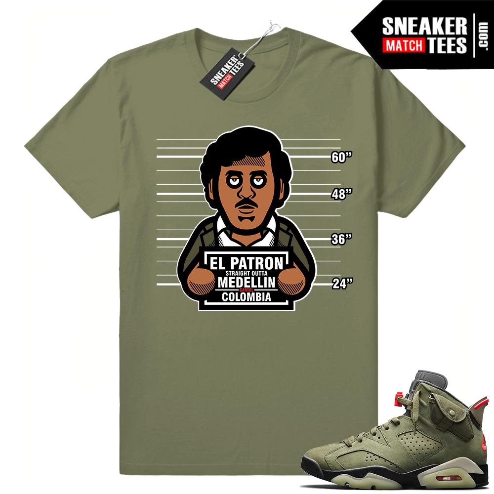 Travis Scott x Jordan 6 Olive shirt Convicts Pablo