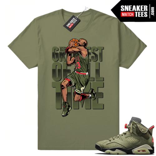 Travis Scott x Jordan 6 Olive shirt Greatest