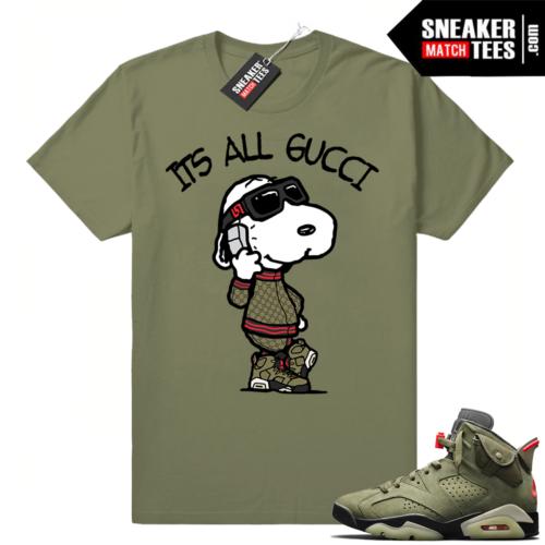 Travis Scott x Jordan 6 Olive shirt Its All Gucci