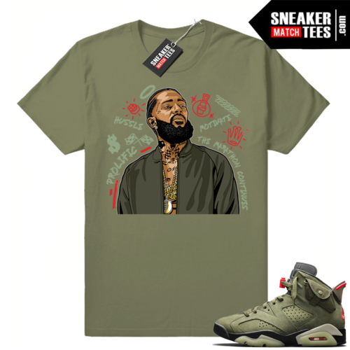 Travis Scott x Jordan 6 Olive shirt Nipsey Tribute
