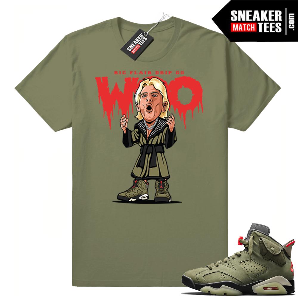 Travis Scott x Jordan 6 Olive shirt Ric Flair Drip