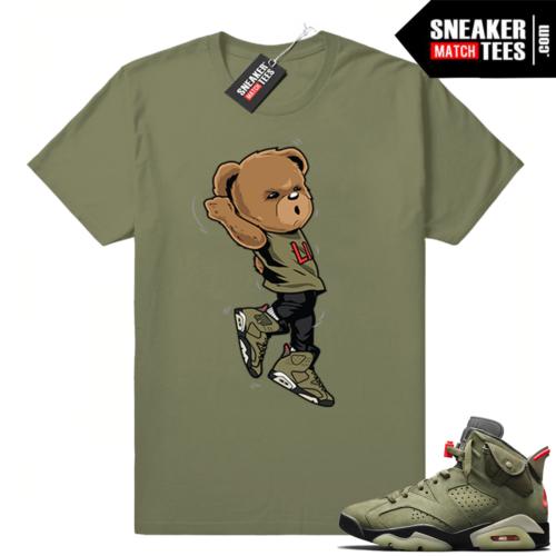 Travis Scott x Jordan 6 Olive shirt Shootin Bear