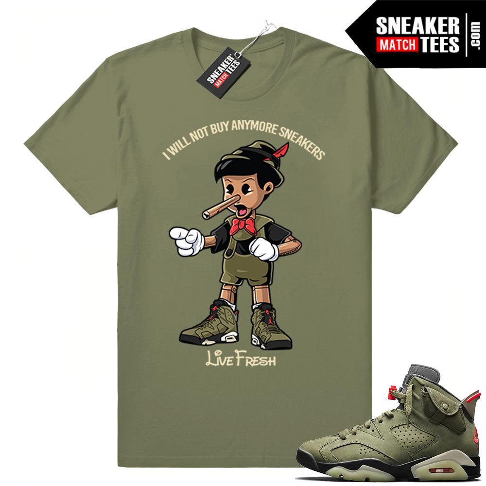 Travis Scott x Jordan 6 Olive shirt Sneakerhead Pinocchio