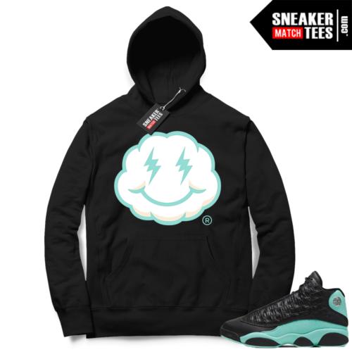 Island Green 13s Hoodies black Smiley Cloud