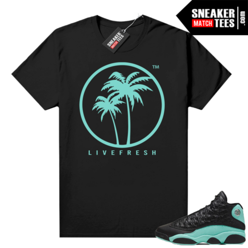 Island Green 13s shirt black Live Fresh Palm Logo