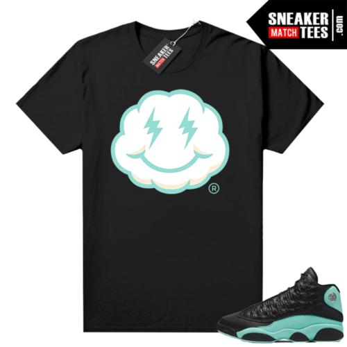 Island Green 13s shirt black Smiley Cloud