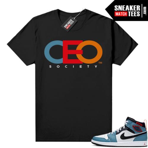Jordan 1 Mid Fearless Facetasm shirt black CEO Society