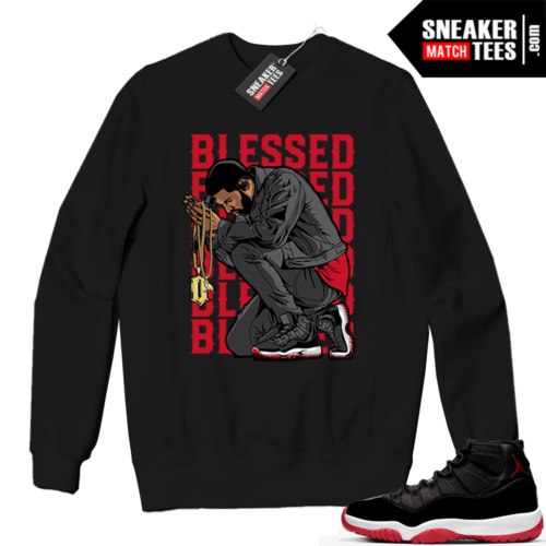 Jordan 11 BRED Crewneck Sweatshirt Black BLESSED