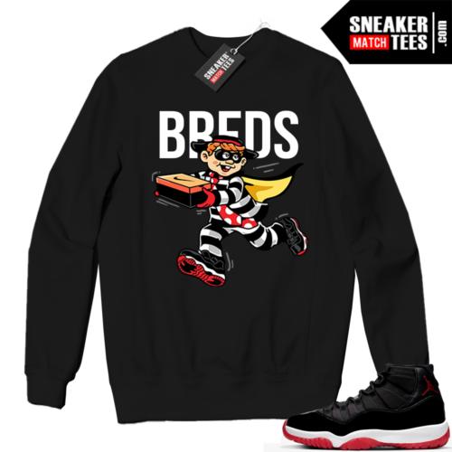 Jordan 11 BRED Crewneck Sweatshirt Black BREDS Heist