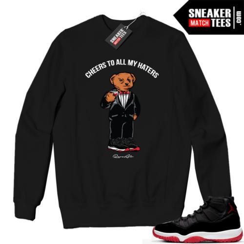 Jordan 11 BRED Crewneck Sweatshirt Black Cheers