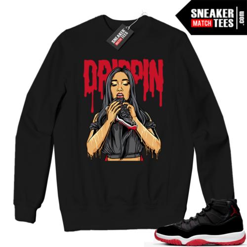 Jordan 11 BRED Crewneck Sweatshirt Black Drippin 11s