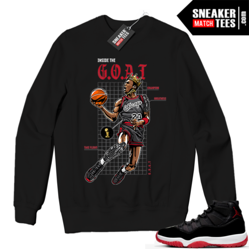 Jordan 11 BRED Crewneck Sweatshirt Black Inside the Goat