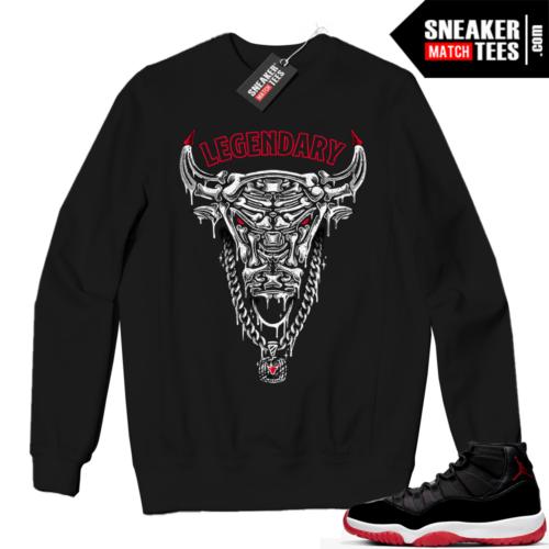 Jordan 11 BRED Crewneck Sweatshirt Black Legendary