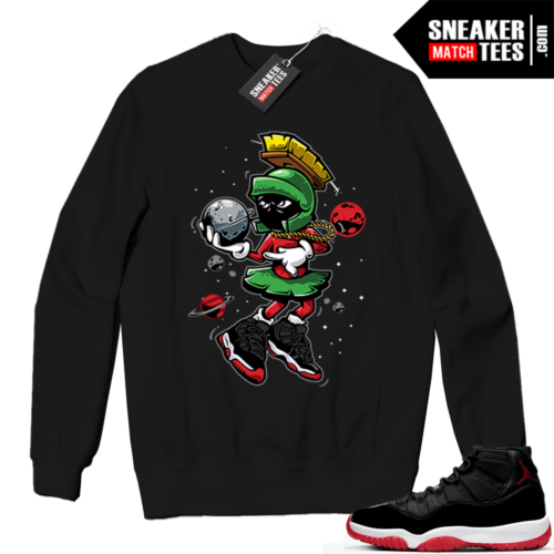 Jordan 11 BRED Crewneck Sweatshirt Black Martian Destroy