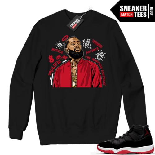Jordan 11 BRED Crewneck Sweatshirt Black Nipsey Tribute