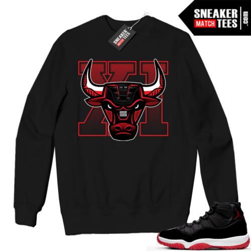 Jordan 11 BRED Crewneck Sweatshirt Black Retro Bull
