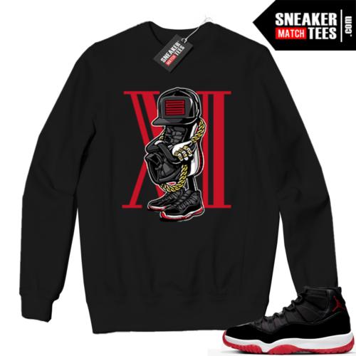 Jordan 11 BRED Crewneck Sweatshirt Black Sneakerhead 11