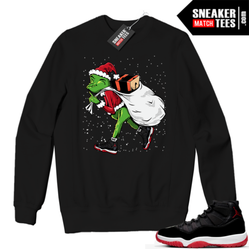 Jordan 11 BRED Crewneck Sweatshirt Black Sneakerhead Grinch