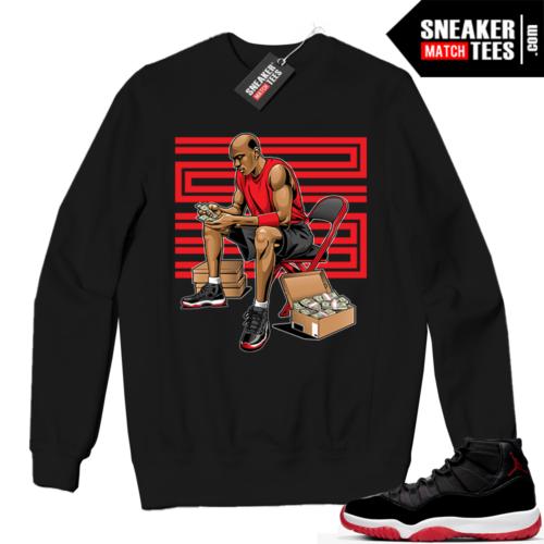 Jordan 11 BRED Crewneck Sweatshirt Black Stackin Bred