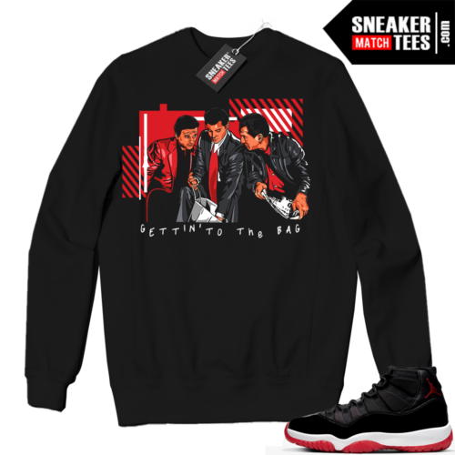 Jordan 11 BRED Crewneck Sweatshirt Black The Bag Goodfellas