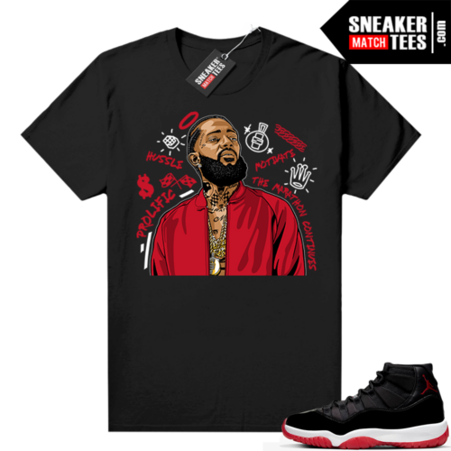 Jordan 11 Bred shirt black Nipsey Tribute