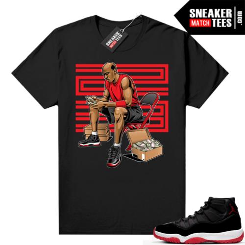 Jordan 11 Bred shirt black Stackin Bred