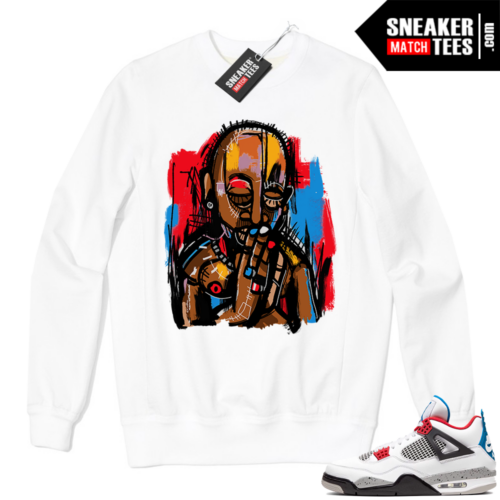 Jordan 4 What the Crewneck Sweatshirt White Abstract Art 2Pac