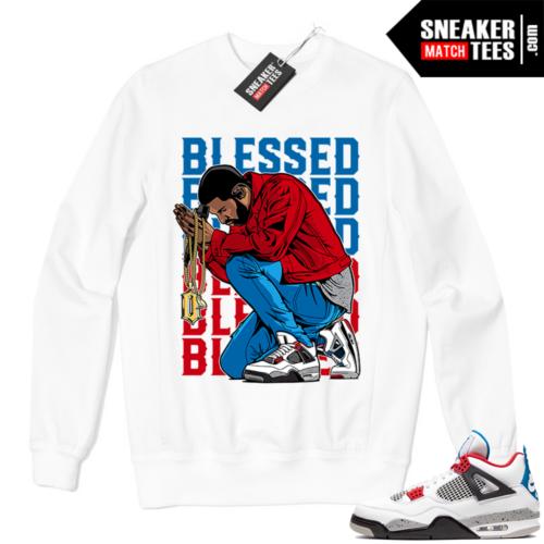 Jordan 4 What the Crewneck Sweatshirt White BLESSED