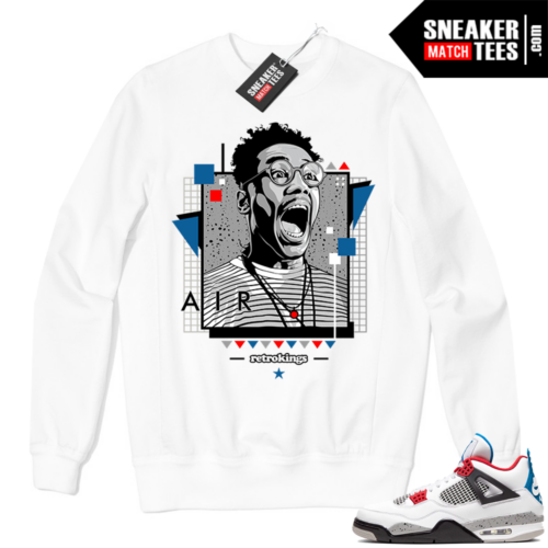 Jordan 4 What the Crewneck Sweatshirt White Buggin Retro Kings