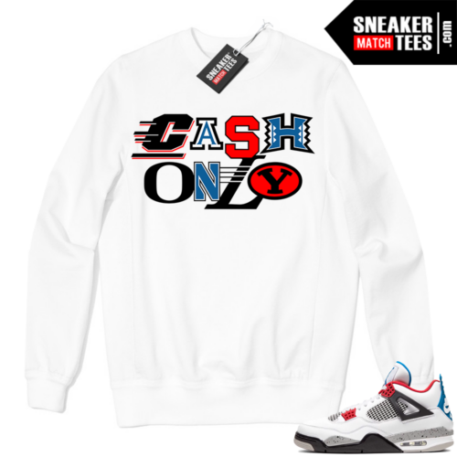 Jordan 4 What the Crewneck Sweatshirt White Cash Only