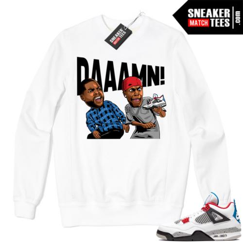 Jordan 4 What the Crewneck Sweatshirt White DAAAMN