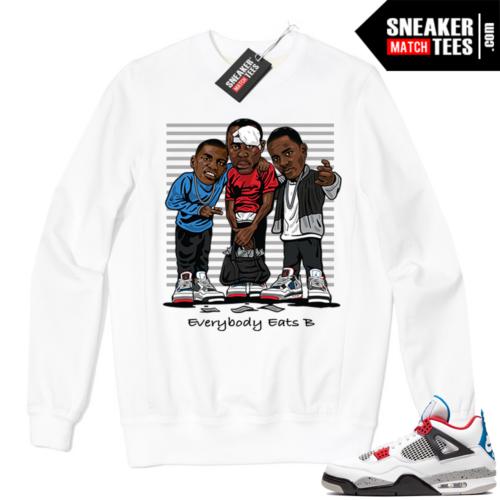 Jordan 4 What the Crewneck Sweatshirt White Everybody Eats B
