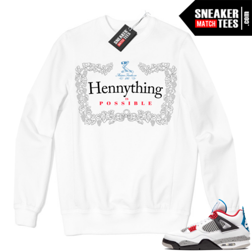 Jordan 4 What the Crewneck Sweatshirt White Hennything