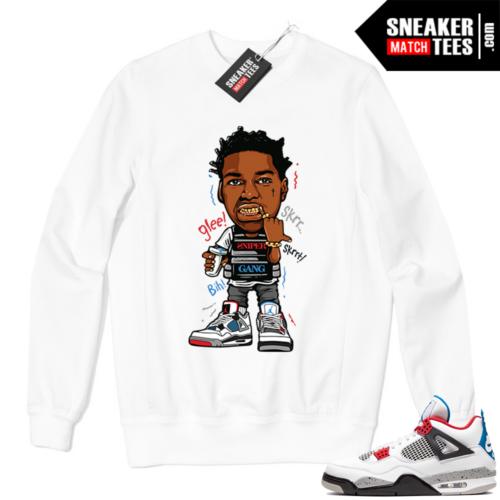 Jordan 4 What the Crewneck Sweatshirt White Kodak Glee