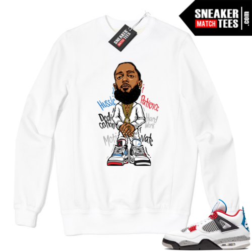 Jordan 4 What the Crewneck Sweatshirt White Nipsey Hussle