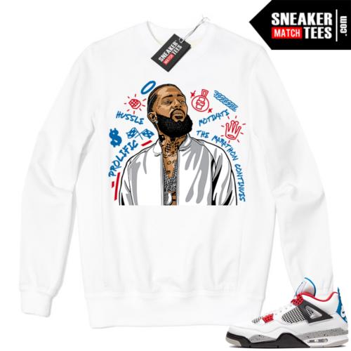 Jordan 4 What the Crewneck Sweatshirt White Nipsey Tribute