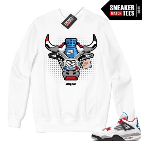 Jordan 4 What the Crewneck Sweatshirt White Rare Air Bull