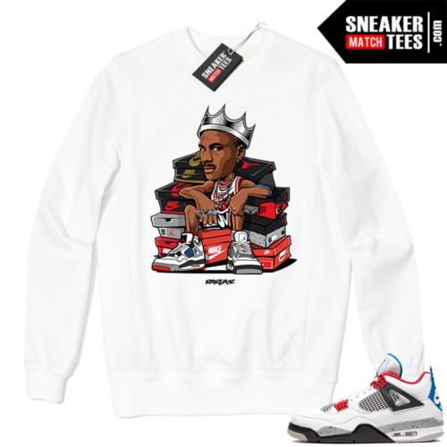 Jordan 4 What the Crewneck Sweatshirt White Sneaker King