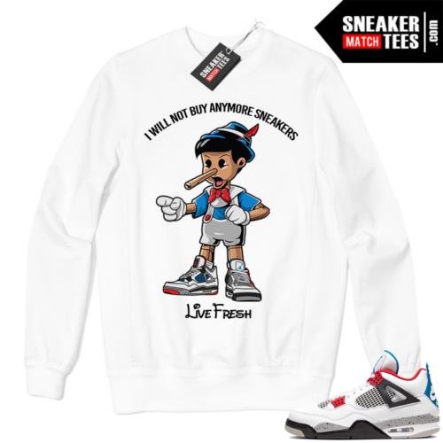 Jordan 4 What the Crewneck Sweatshirt White Sneakerhead Pinocchio